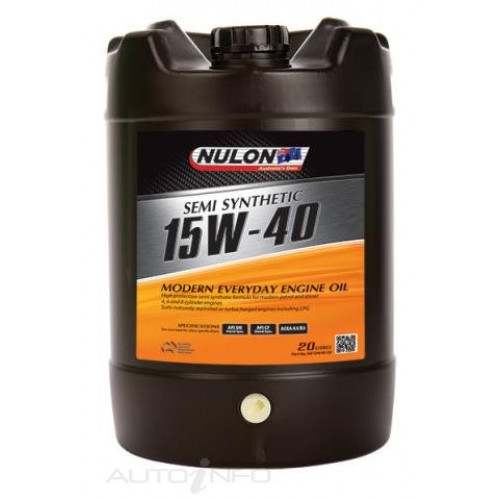 nulon 20l semi synthetic 15w 40 modern everyday engine oil oa00213. Black Bedroom Furniture Sets. Home Design Ideas