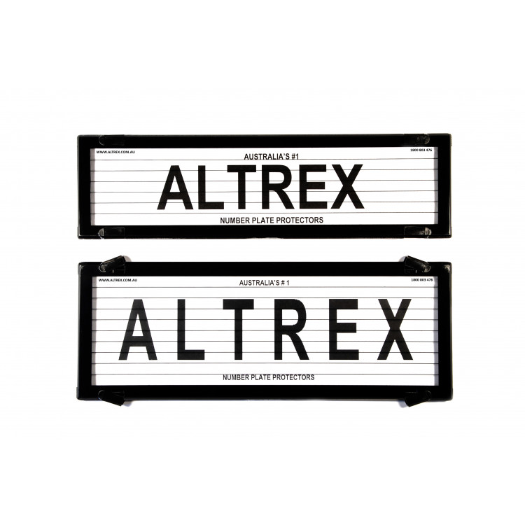 Altrex Number Plate Frame QLD/ACT/VIC/SA/WA Slimline/Standard Combination Black With Lines