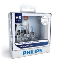 Philips H3 WhiteVision +40% 12V 55W Globe Twin Pack