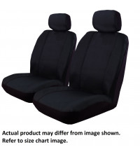 Ilana Outback Canvas black seat covers for Toyota Hilux Dual Cab SR SR5 10/15 -On Black DS