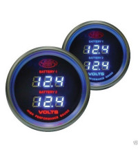 SAAS Digital Dual Volt Gauge White 52mm