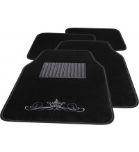 Streetwize Studded Crown Black Carpet Floor Mats - Set of 4