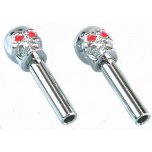 TFI Racing Door Lock Knobs Chrome Skulls Red Eye