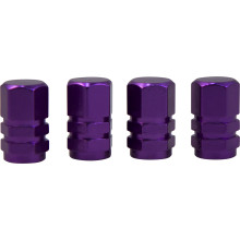 TYRE VALVE CAPS PURPLE 4PC ALUMINIUM
