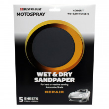 Motospray Wet & Dry Sandpaper - 400 Grit - 5 Pack
