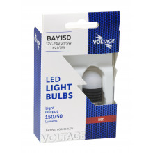 GLOBE BAYONET LED 12V-24V P21/5W BAY15D RED 2PK