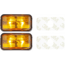 LED MARKER LIGHT AMBER 10-30V 50X25MM ADHESIVE 2PK